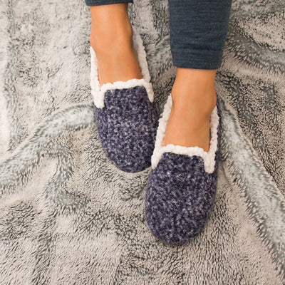 Women's Jessie Hoodback Slippers in Navy/Blue On Model