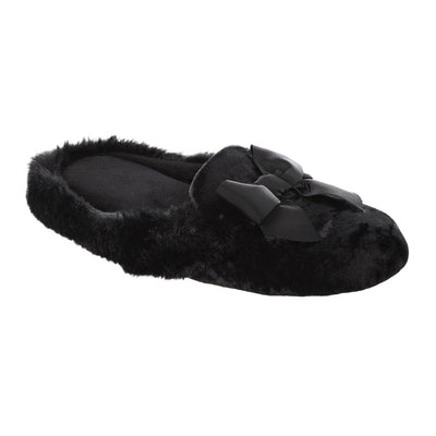 Women's Iridescent Velour Krista Hoodback Slippers in Black Right Angled View