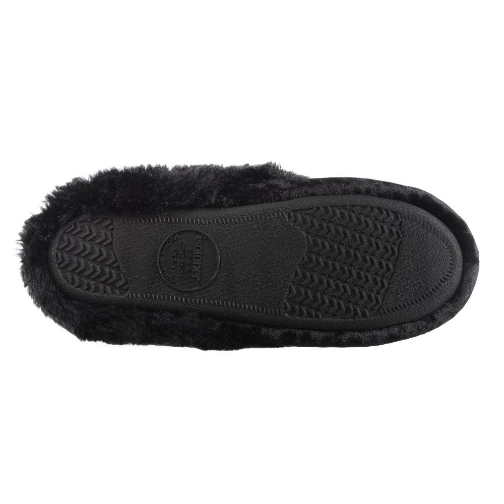 Women's Iridescent Velour Krista Hoodback Slippers in Black Bottome Sole Tread