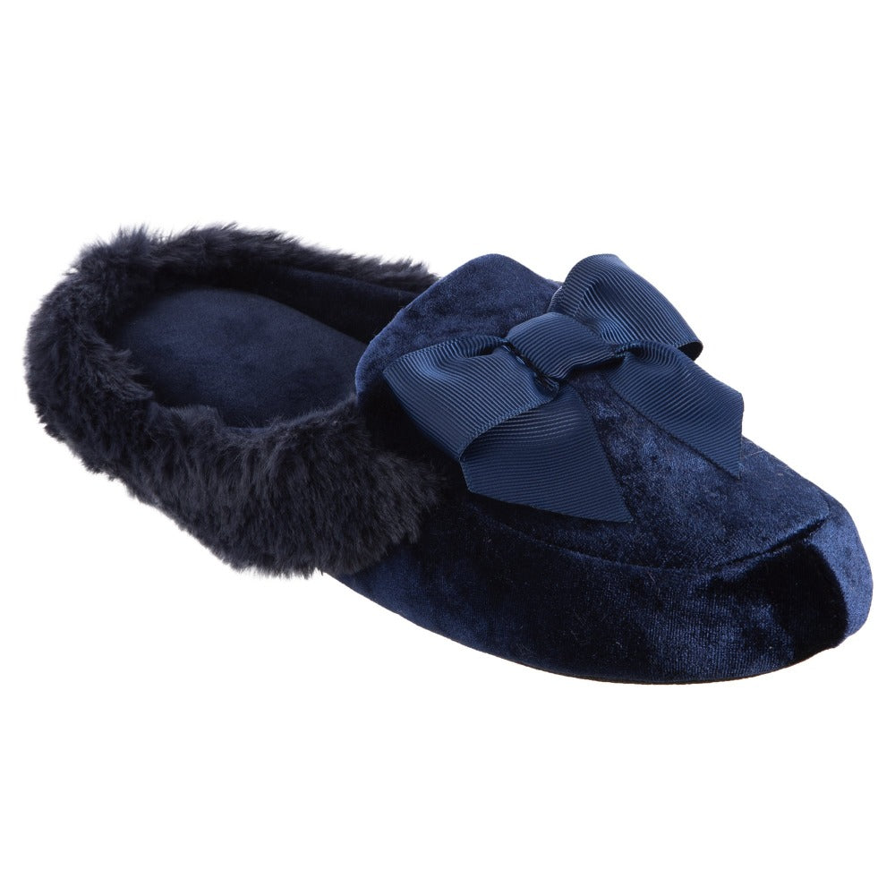 Women's Iridescent Velour Krista Hoodback Slippers in Navy Blue Right Angled View