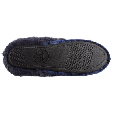 Women's Iridescent Velour Krista Hoodback Slippers in Navy Blue Bottome Sole Tread