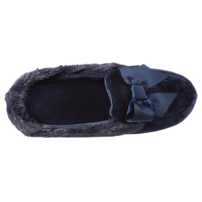 Women's Iridescent Velour Krista Hoodback Slippers in Navy Blue Inside Top View