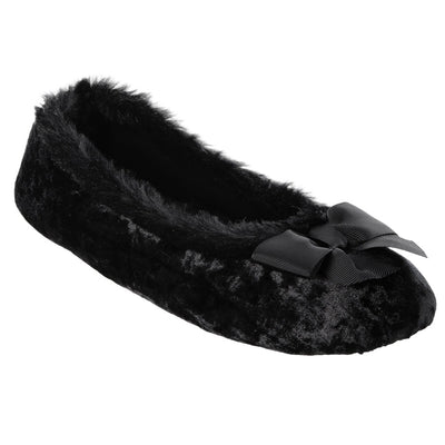 Women's Iridescent Velour Krista Ballerina Slippers in Black Right Angled View