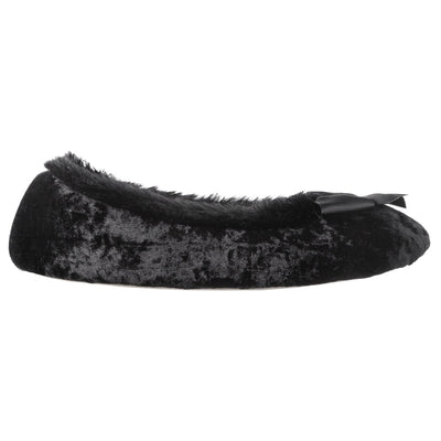 Women's Iridescent Velour Krista Ballerina Slippers in Black Profile