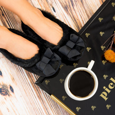 Women's Iridescent Velour Krista Ballerina Slippers in Black on Model with serving tray and mug of coffee