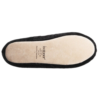 Women's Iridescent Velour Krista Ballerina Slippers in Black Bottom Tread View