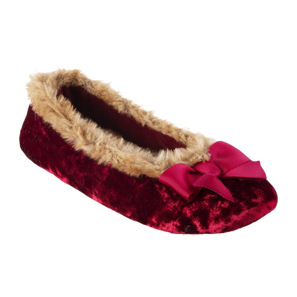 Women's Iridescent Velour Krista Ballerina Slippers in Chili Right Angled View (Red)