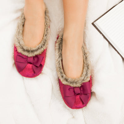 Women's Iridescent Velour Krista Ballerina Slippers in Chili Red on Model on Fur Blanket