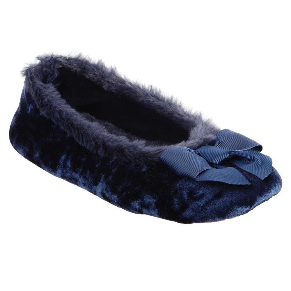 Women's Iridescent Velour Krista Ballerina Slippers in Navy Blue Right Angled View