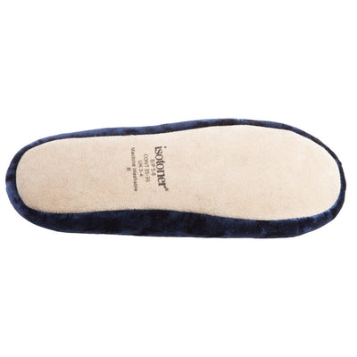 Women's Iridescent Velour Krista Ballerina Slippers in Navy Blue Bottom Tread View