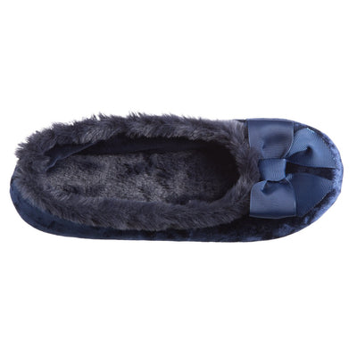 Women's Iridescent Velour Krista Ballerina Slippers in Navy Blue Inside Top View