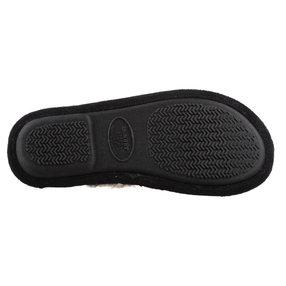 Women's Zulu Clog Slippers in Black Bottom Sole Tread