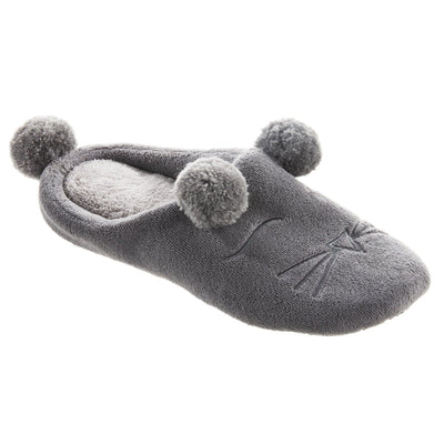 Women's Microterry Critter Hoodback Slippers in Ash Right Angled View