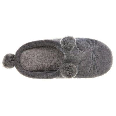 Women's Microterry Critter Hoodback Slippers in Ash Inside Top View