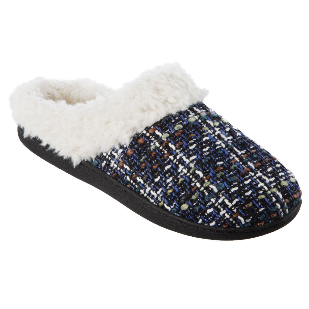 Women's Tweed Kaitlyn Hoodback Slippers in Steele Blue Right Angled View