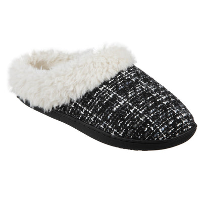Women's Tweed Kaitlyn Hoodback Slippers in Black Right Angled View