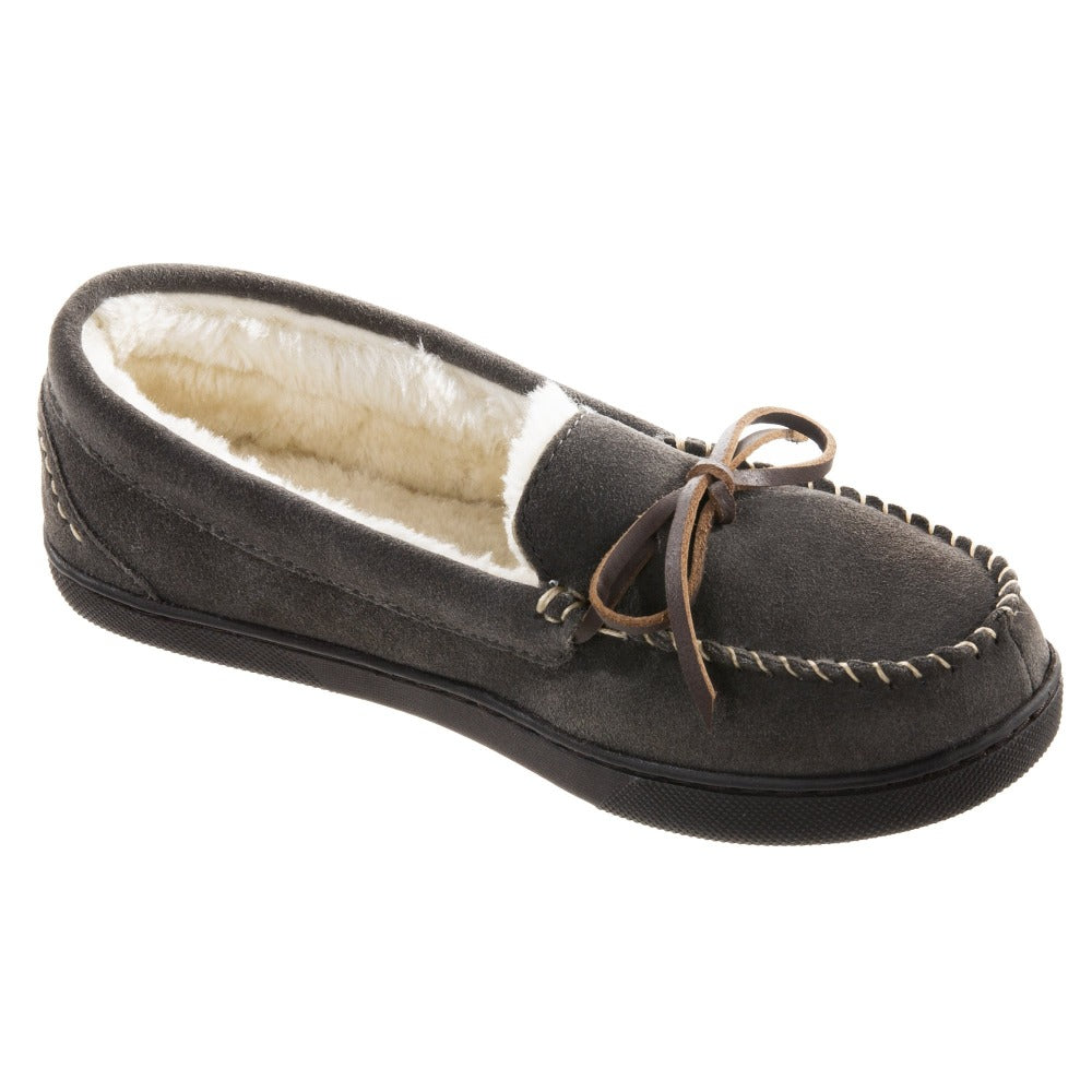 Women's Genuine Suede Moccasins in Ash Right Angled View
