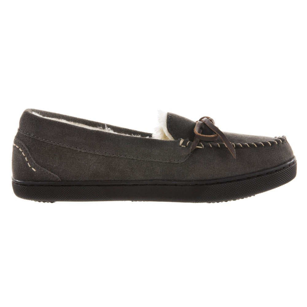 Women's Genuine Suede Moccasins in Ash Profile