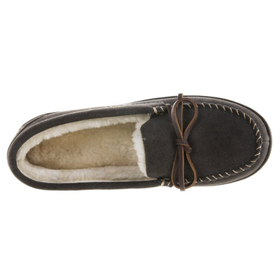 Women's Genuine Suede Moccasins in Ash Inside Top View