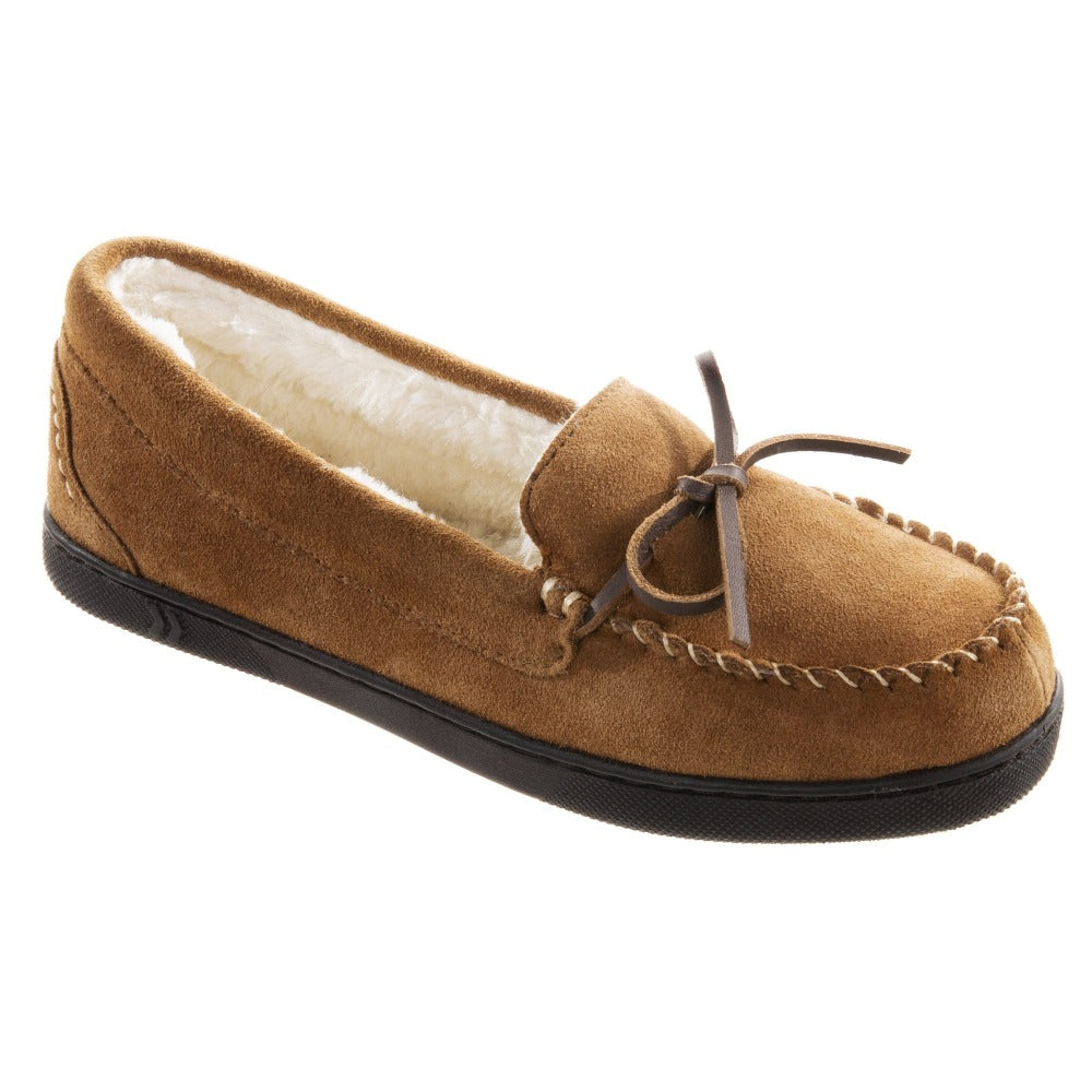 Women's Genuine Suede Moccasins in Buckskin Right Angled View