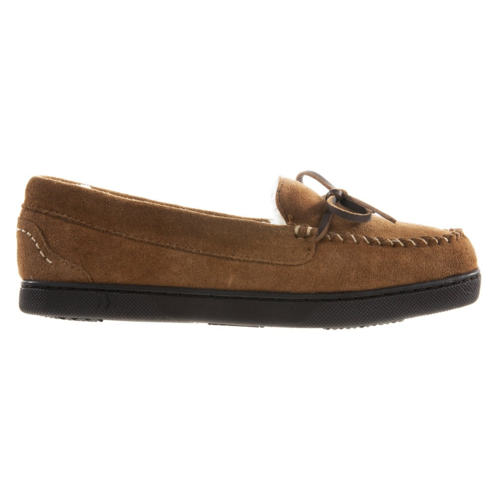 Women's Genuine Suede Moccasins in Buckskin Profile