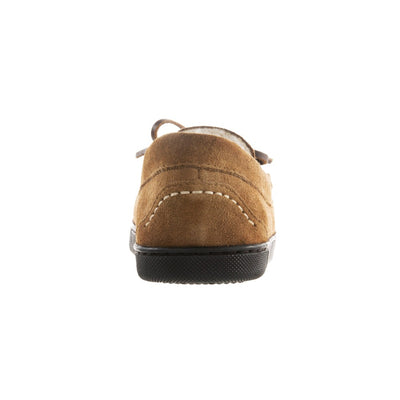 Women's Genuine Suede Moccasins in Buckskin Back Heel