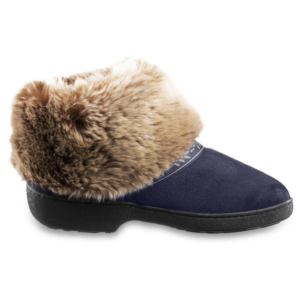 Women's Microsuede Addie Boot Slippers in Navy Blue Profile