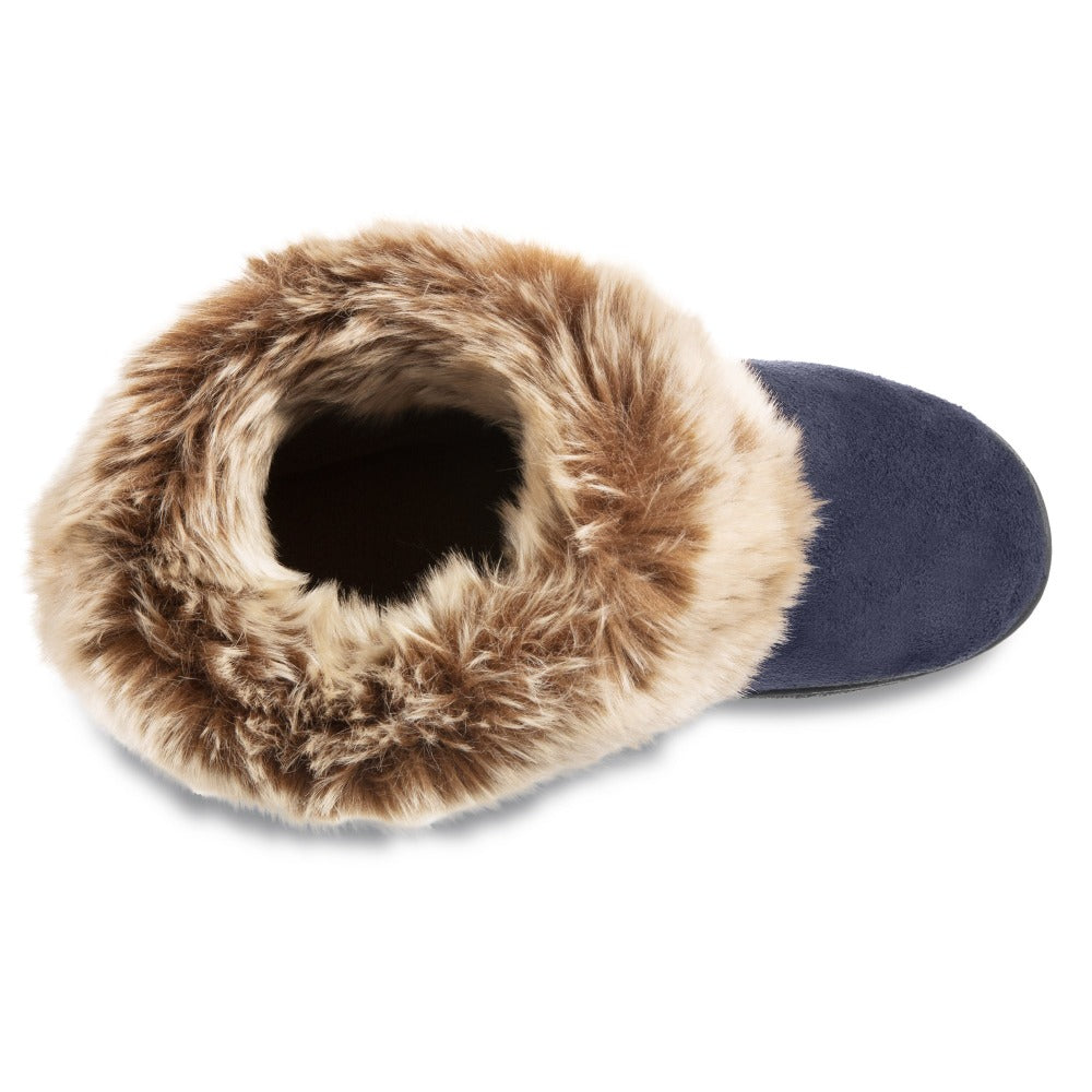 Women's Microsuede Addie Boot Slippers in Navy Blue Inside Top View