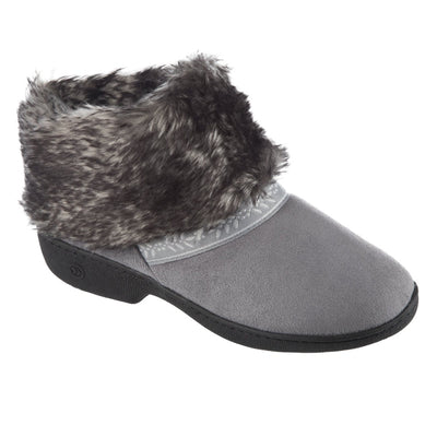 Women's Microsuede Addie Boot Slippers in Ash Right Angled View