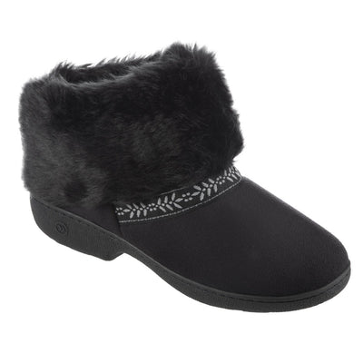 Women's Microsuede Addie Boot Slippers in Black Right Angled View