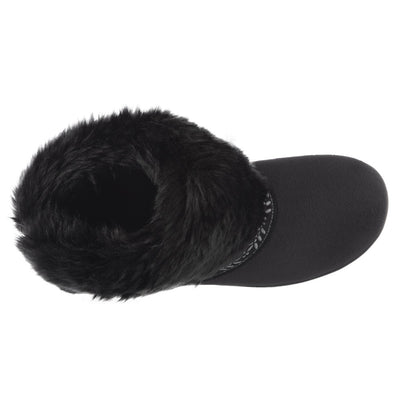 Women's Microsuede Addie Boot Slippers in Black Inside Top View