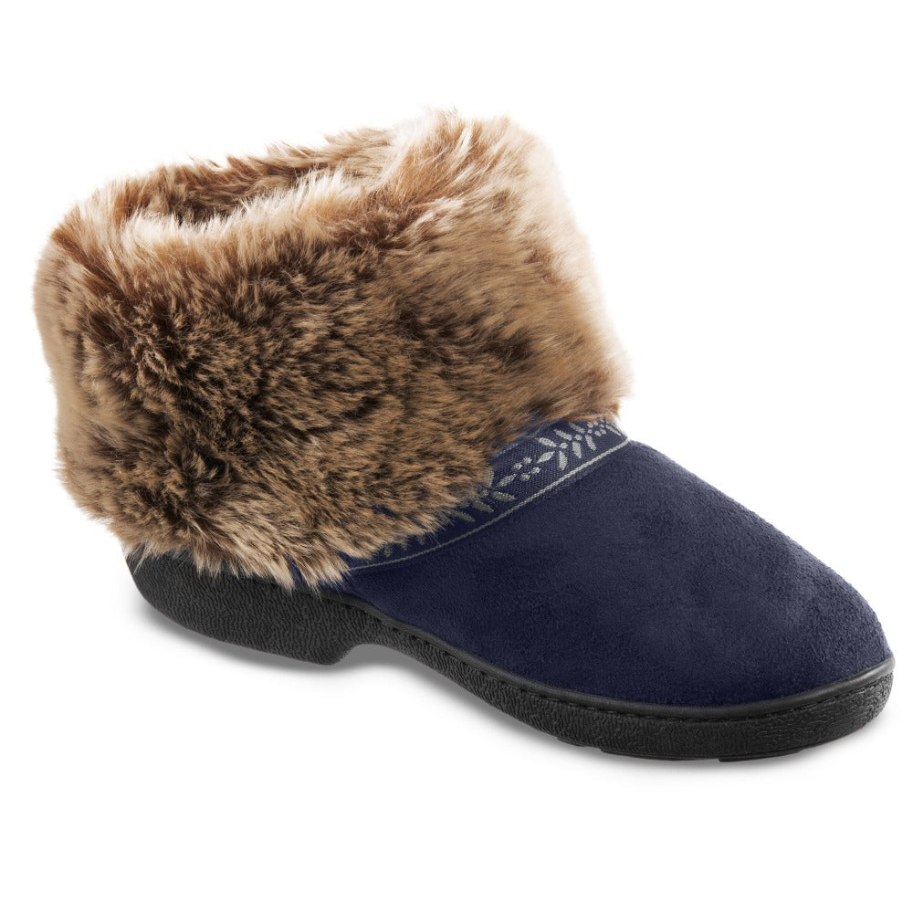 Women's Microsuede Addie Boot Slippers in Navy Blue Right Angled View