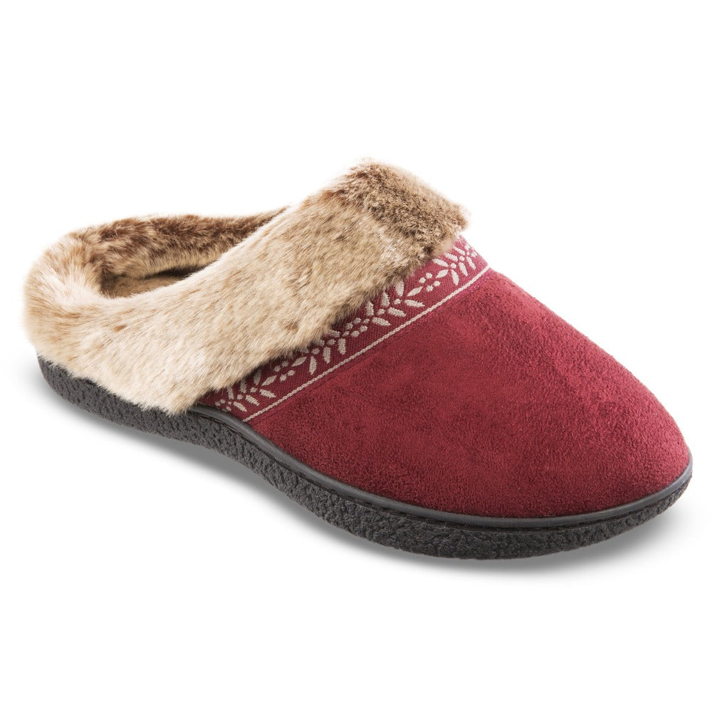 Women's Microsuede Addie Hoodback Slippers in Chili Red Right Angled View