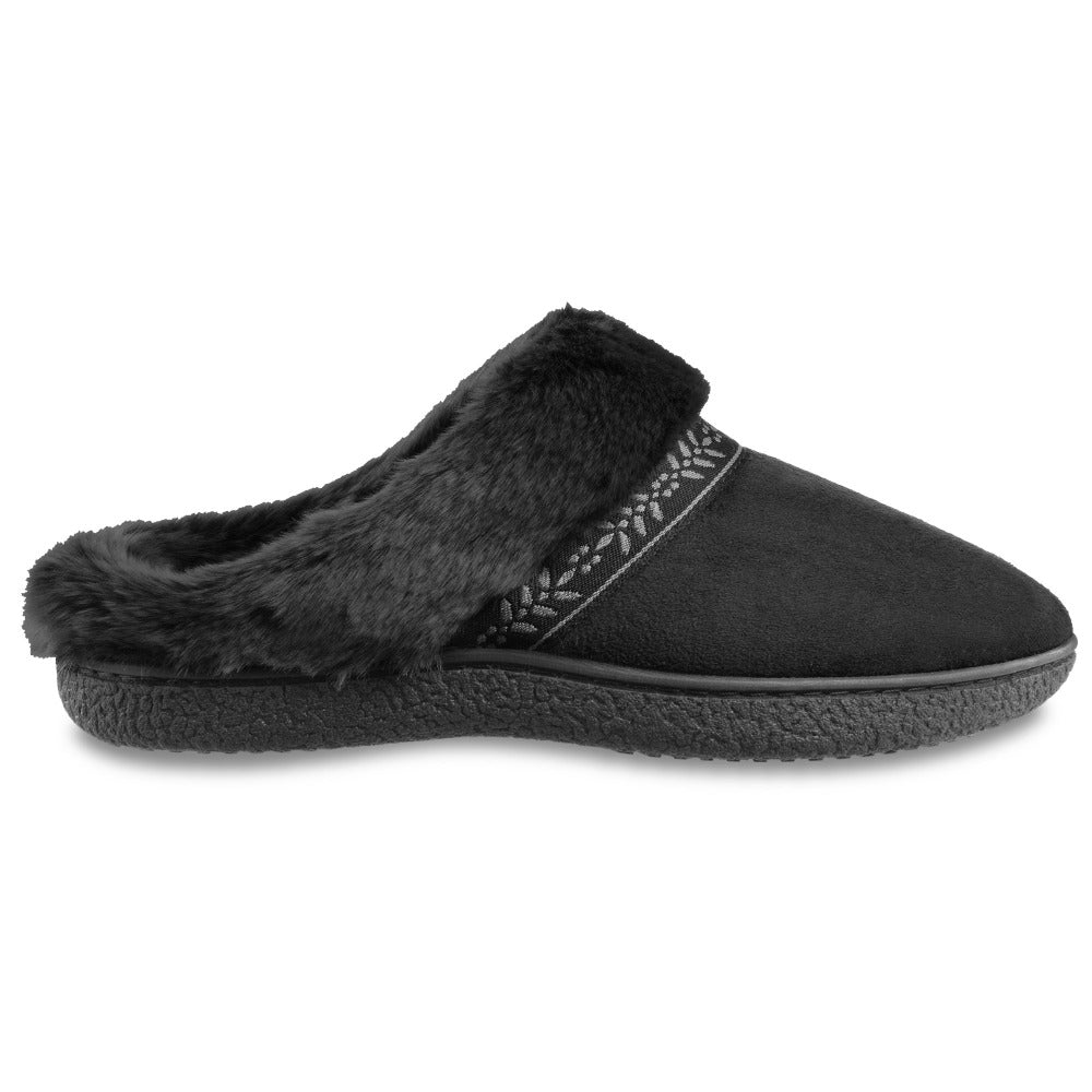 Women's Microsuede Addie Hoodback Slippers in Black Profile