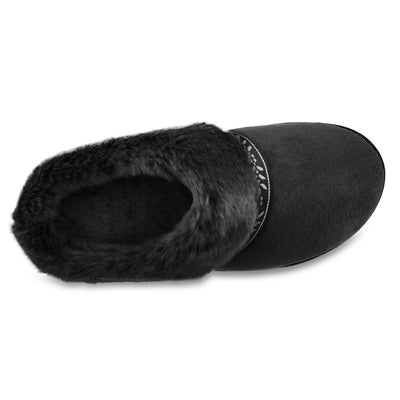 Women's Microsuede Addie Hoodback Slippers in Black Inside Top View