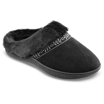 Women's Microsuede Addie Hoodback Slippers in Black Right Angled View