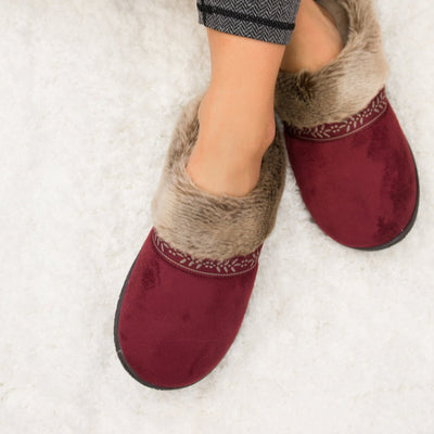 Women's Microsuede Addie Hoodback Slippers in Chili Red on Model on plush Fur Rug