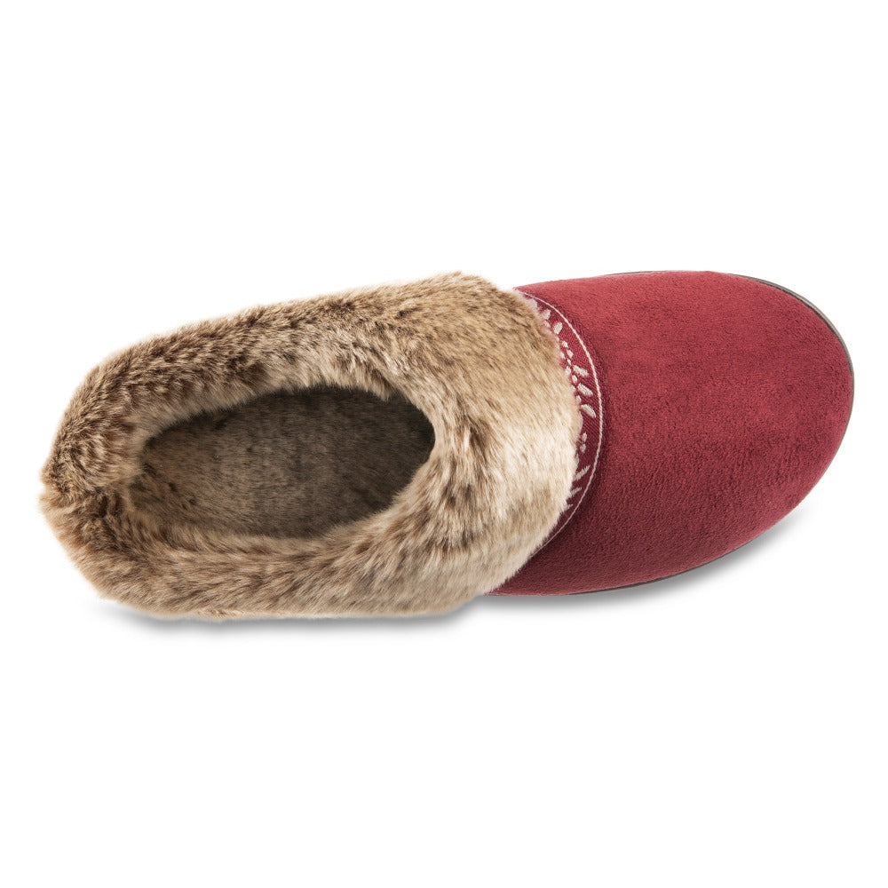 Women's Microsuede Addie Hoodback Slippers in Chili Red Inside Top View