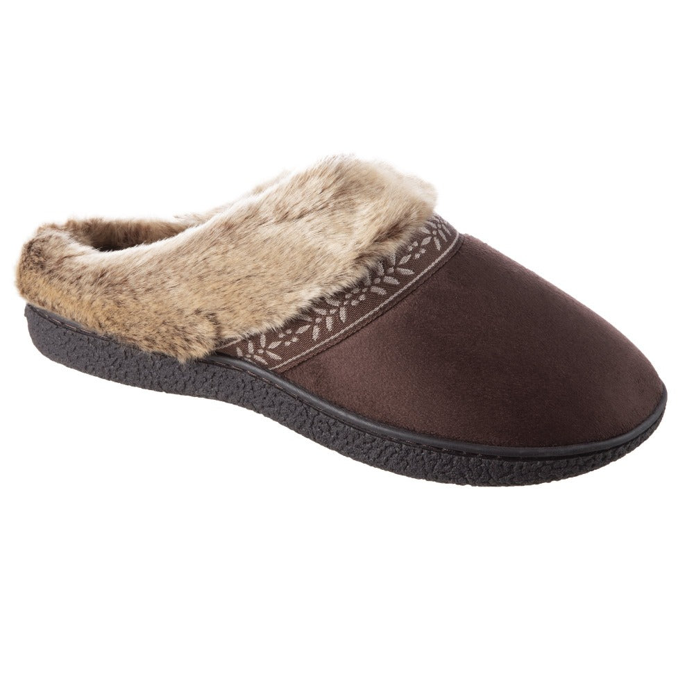 Women's Microsuede Addie Hoodback Slippers in Dark Chocolate Right Angled View