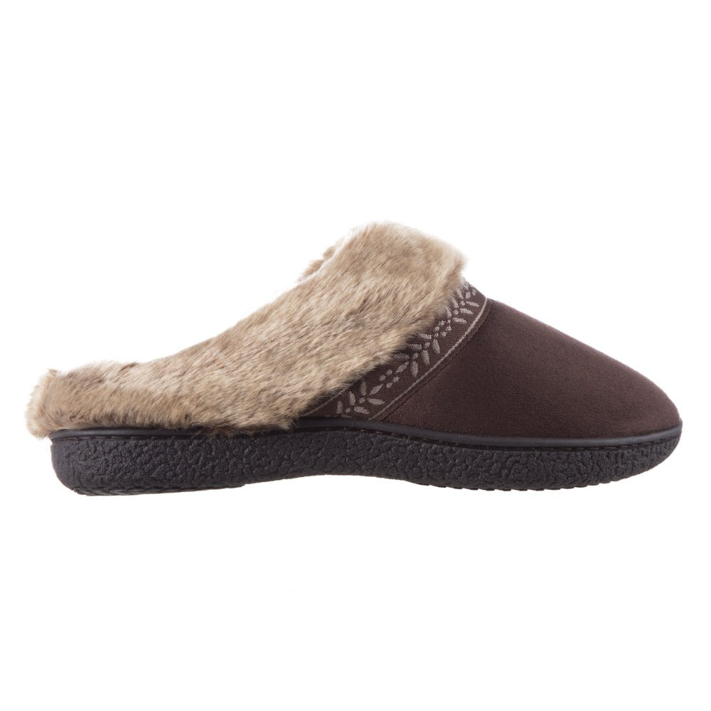 Women's Microsuede Addie Hoodback Slippers in Dark Chocolate Profile