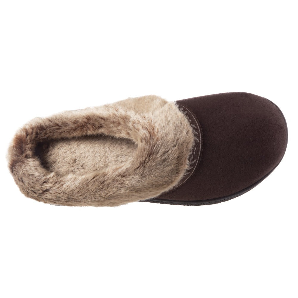 Women's Microsuede Addie Hoodback Slippers in Dark Chocolate Inside Top View