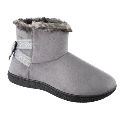 Women's Microsuede Addie Boot Slippers with Bow in Ash Right Angled View