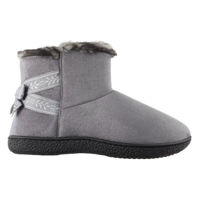 Women's Microsuede Addie Boot Slippers with Bow in Ash Profile