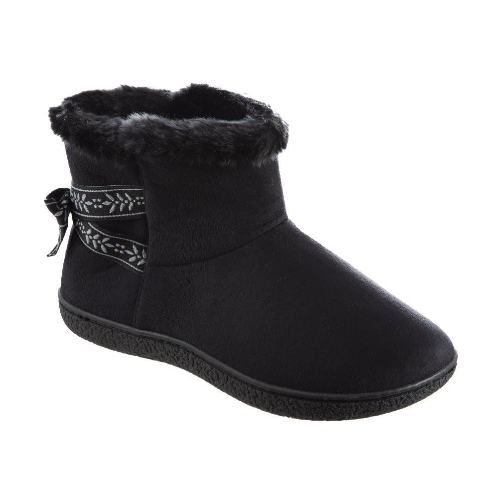 Women's Microsuede Addie Boot Slippers with Bow in Black Right Angled View