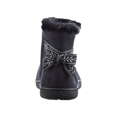 Women's Microsuede Addie Boot Slippers with Bow in Black Back Heel