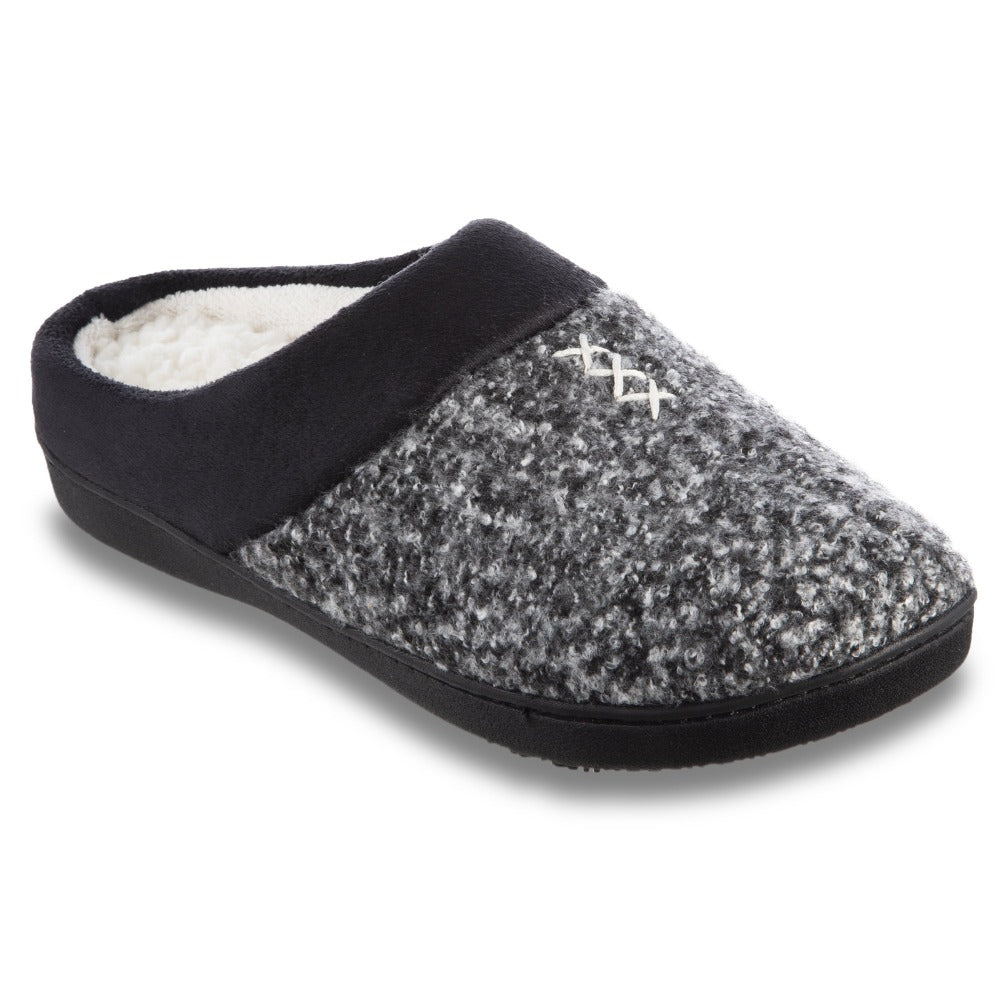 Women's Heathered Knit Jessie Hoodback Slippers in Dark Charcoal Heather Right Angled View