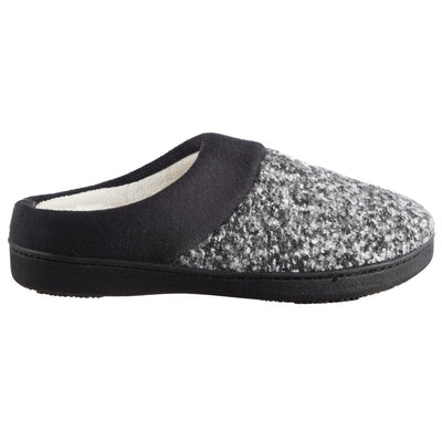 Women's Heathered Knit Jessie Hoodback Slippers Dark Charcoal Heathered Profile