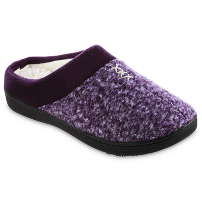 Women's Heathered Knit Jessie Hoodback Slippers in Majestic Purple Right Angled View