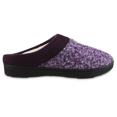 Women's Heathered Knit Jessie Hoodback Slippers in Majestic Purple Profile