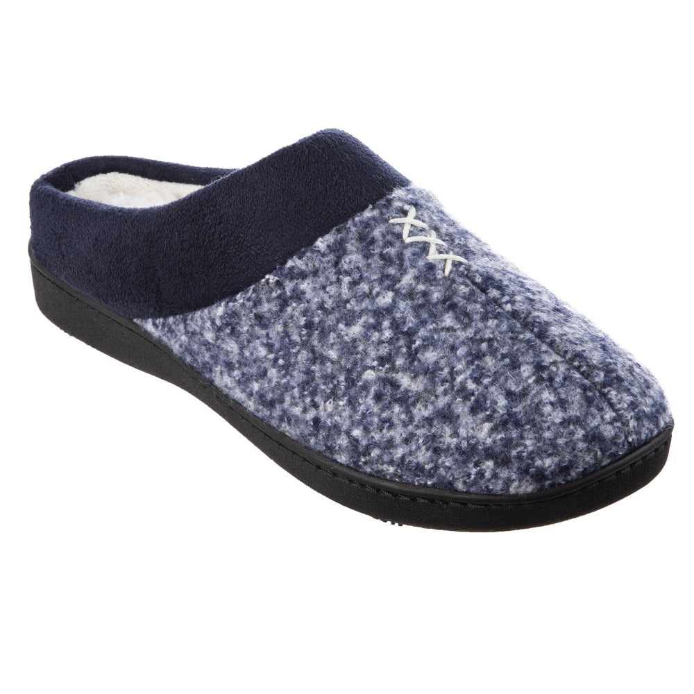 Women's Heathered Knit Jessie Hoodback Slippers in Navy Blue Right Angled View
